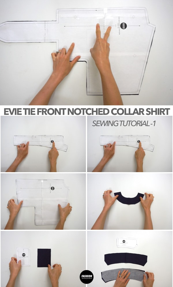 Evie Front Tie Notched Collar Shirt pattern pieces
