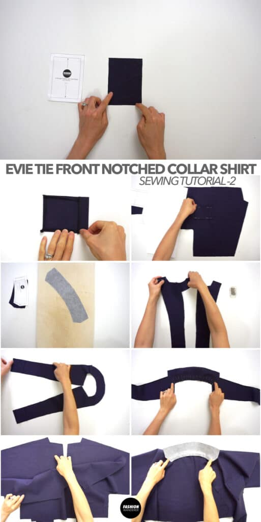 Evie Front Tie Notched Collar Shirt tutorial