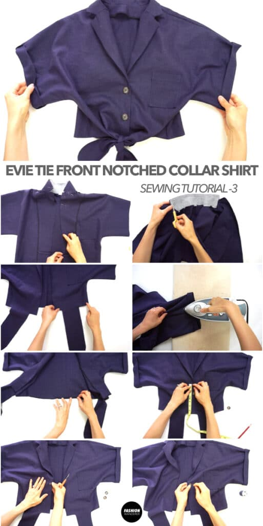 How to make Evie Front Tie Notched Collar Shirt