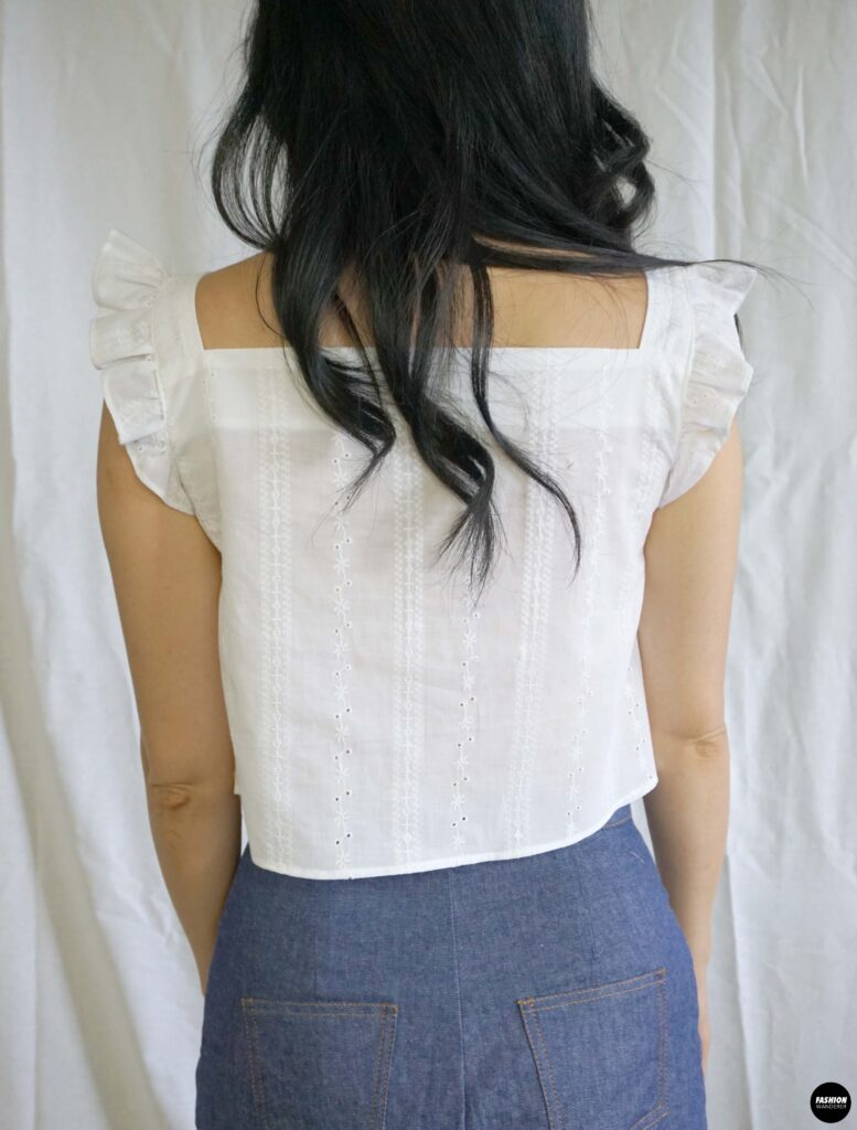 How to make Millie ruffle strap button up top back view