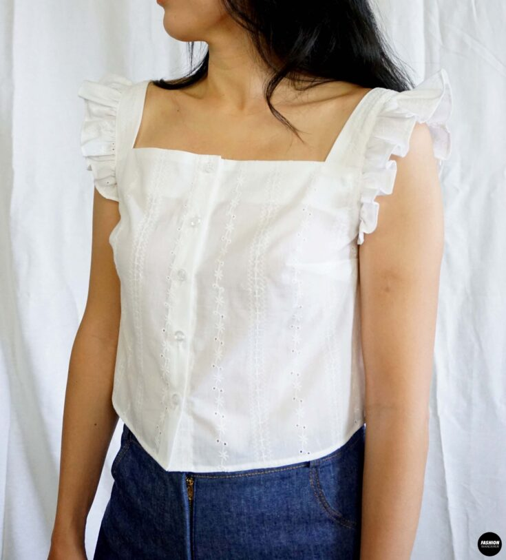How to make Millie ruffle strap button up top front sideview