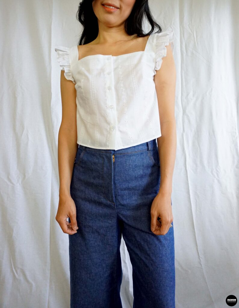 How to make Millie ruffle strap button up top front view