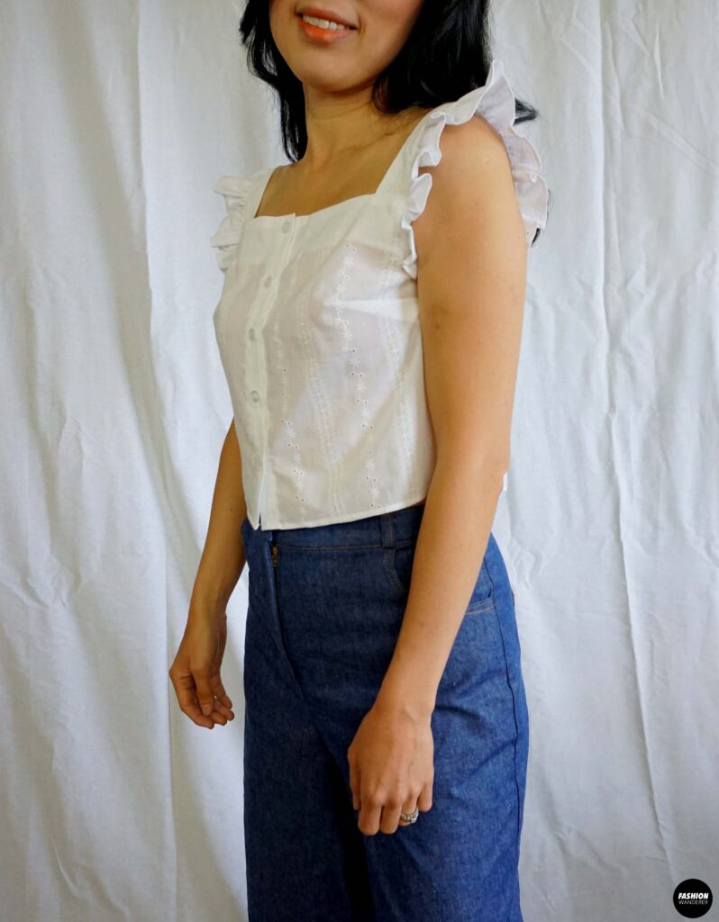 How to make Millie ruffle strap button up top sideview