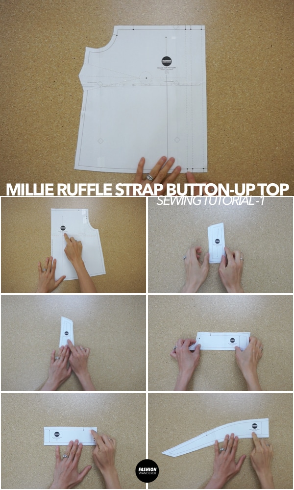 Millie ruffle strap button up top tutorial