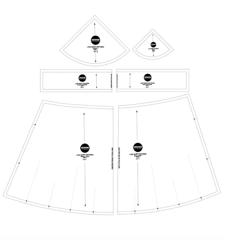 Stella tie waist godet mini skirt sewing pattern