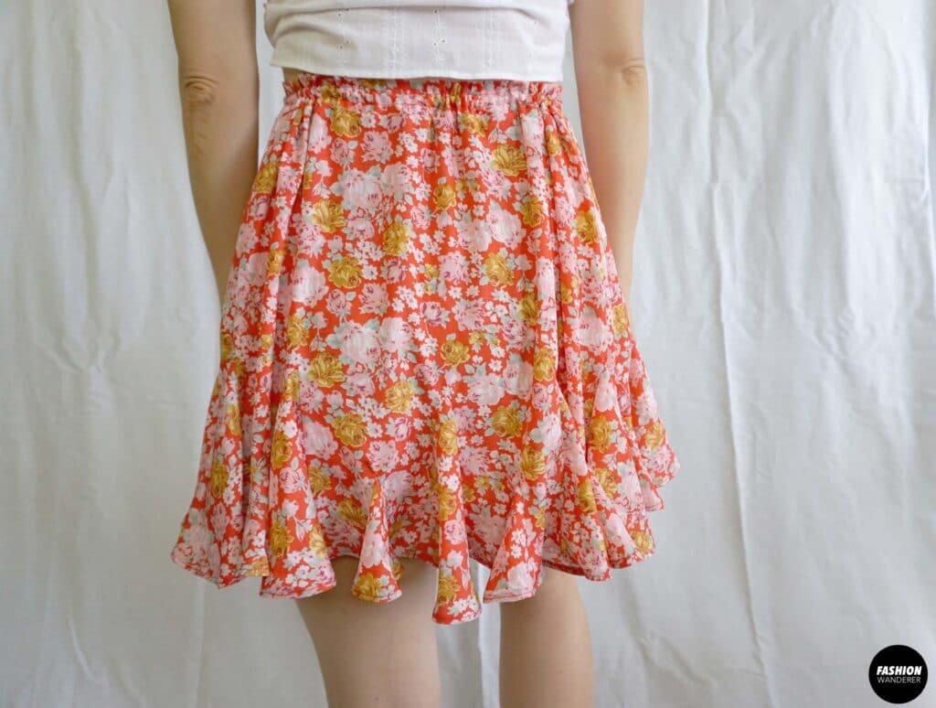 Stella tie waist godet mini skirt back view