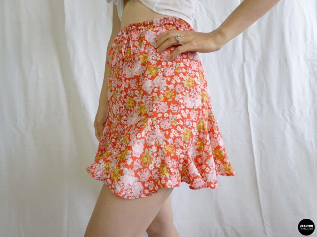 Stella tie waist godet mini skirt sideview