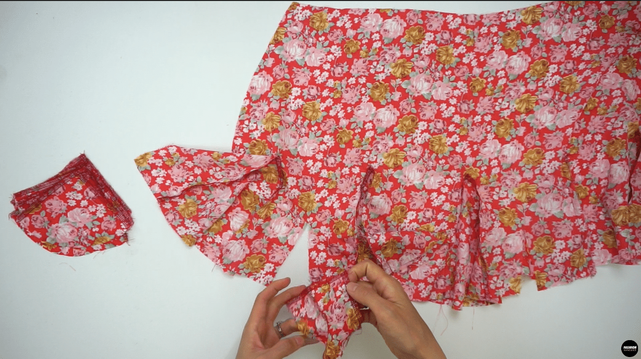 """Next, attach the smaller size Godet #2 on the Front Skirt as well using ⅜"""" seam allowance on left side first, and then finish on the right side."""