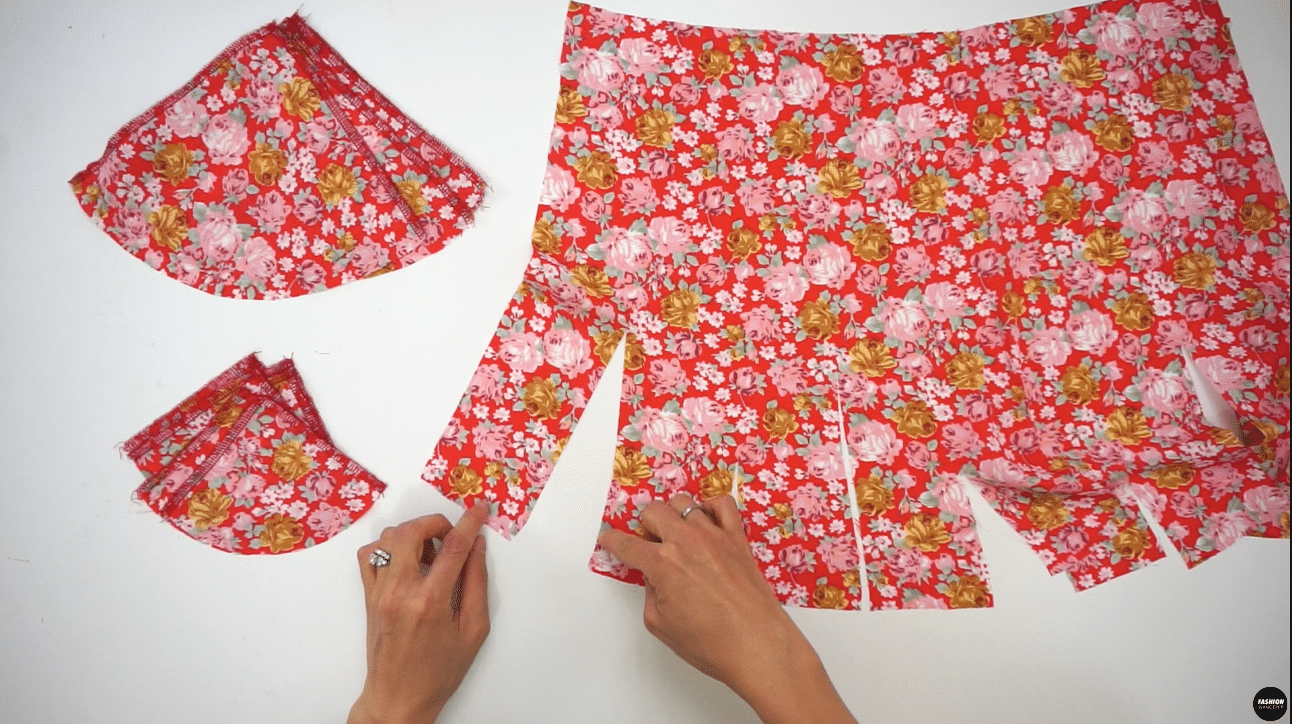 """Do the same to add Godet #1 and Godet #2 on the Back Skirt by placing right side facing each other to sew ⅜"""" straight from hem to the point. Then, sew other side with ⅜"""" seam allowance until where the two seams intersect. Press the Godet afterwards and set aside."""