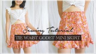 Stella tie waist godet mini skirt thumbnail