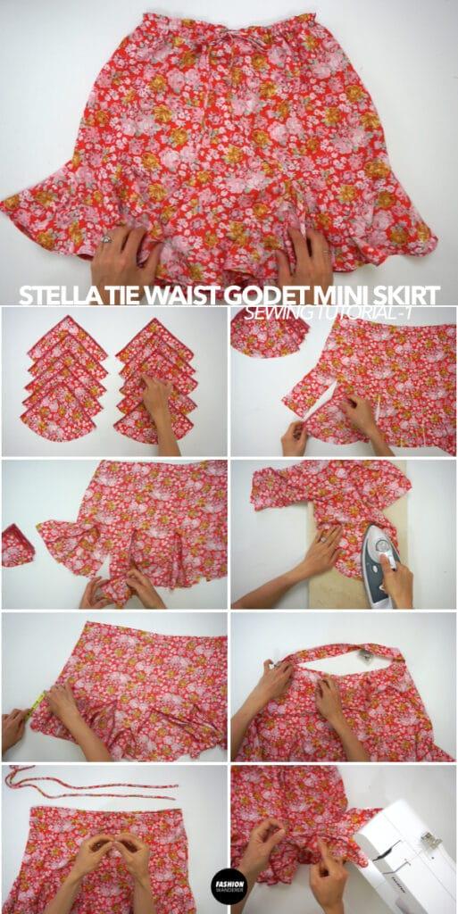 How to make Stella tie waist godet mini skirt