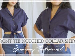 Evie Front Tie Notched Collar Shirt Thumbnail