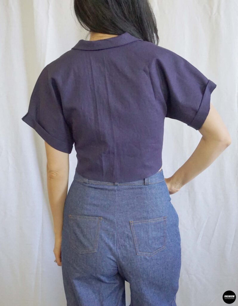 Evie Front Tie Notched Collar Shirt back view