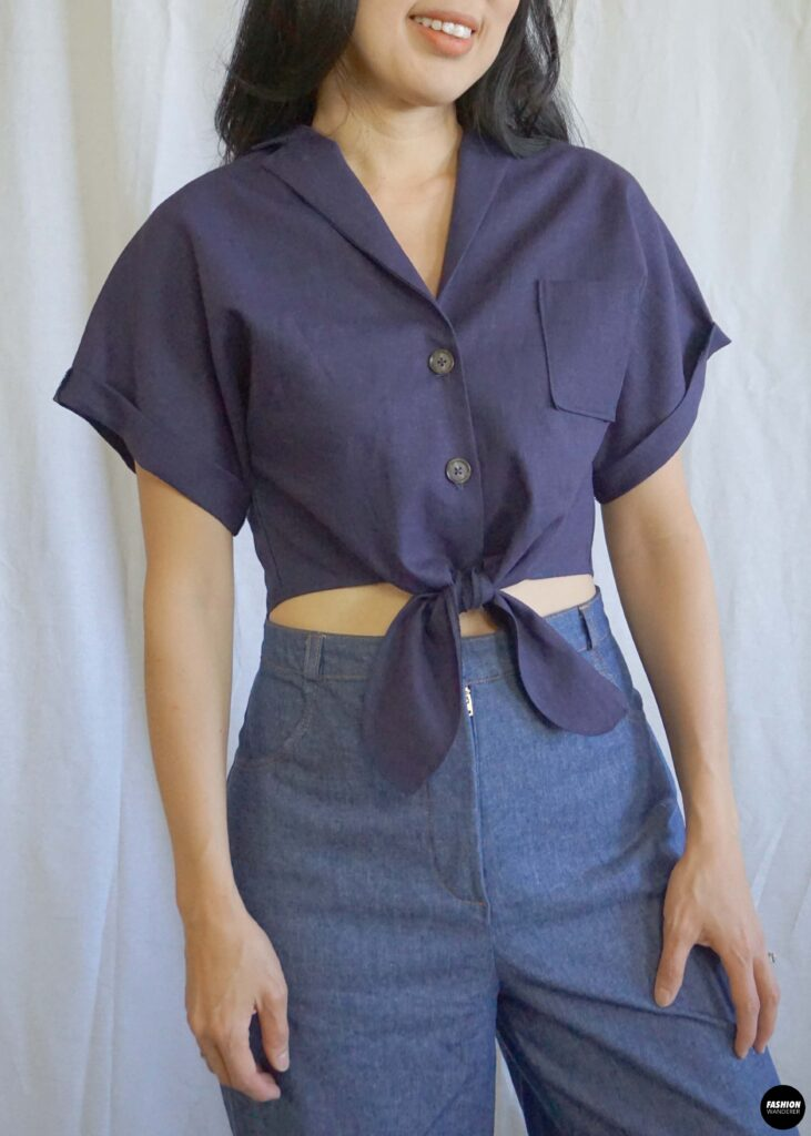 Evie Front Tie Notched Collar Shirt front view