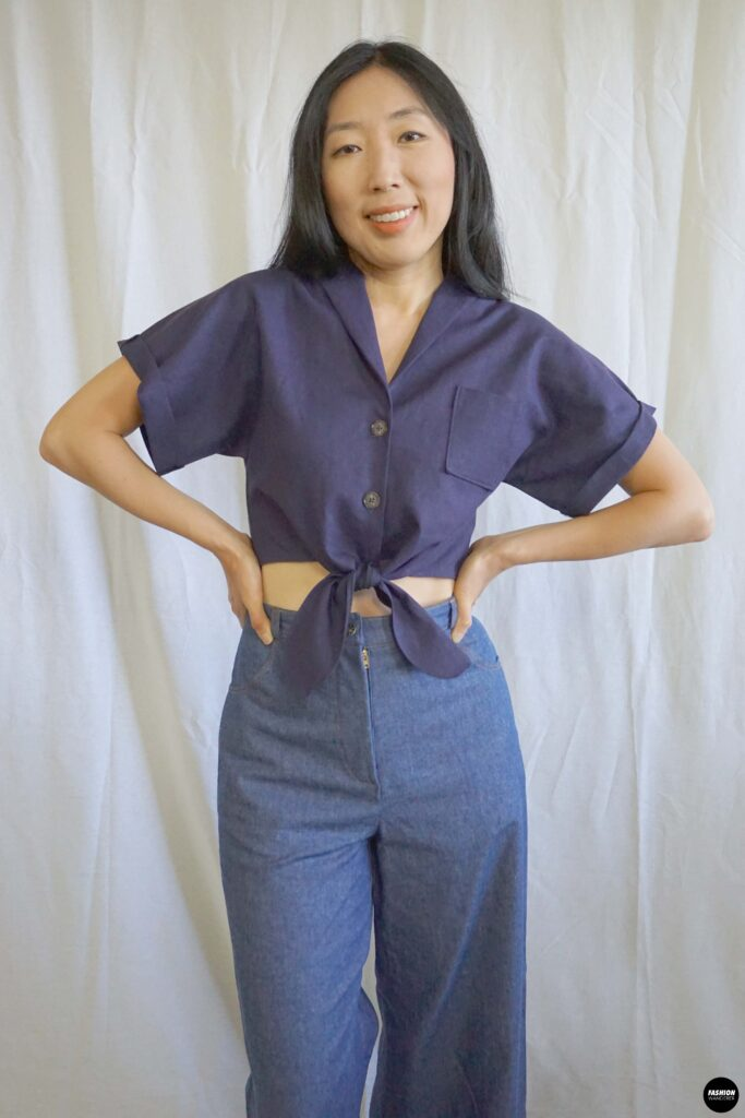 Evie Front Tie Notched Collar Shirt Full front view